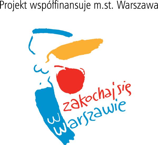 Napis: Projekt współfinansuje m.st. Warszawa, logo Zakochaj się w Warszawie
