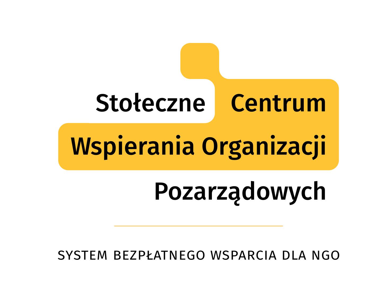 Logo Stołeczne Centrum Wspierania Organizacji Pozarządowych, napis: System Bezpłatnego Wsparcia dla NGO