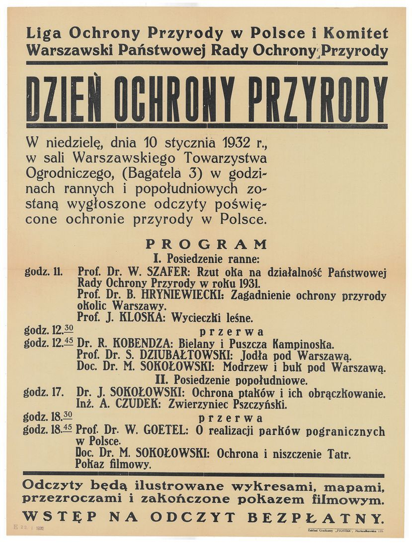 Afisz z 1932 roku, zachęcający do udziału w Dniu Ochrony Przyrody