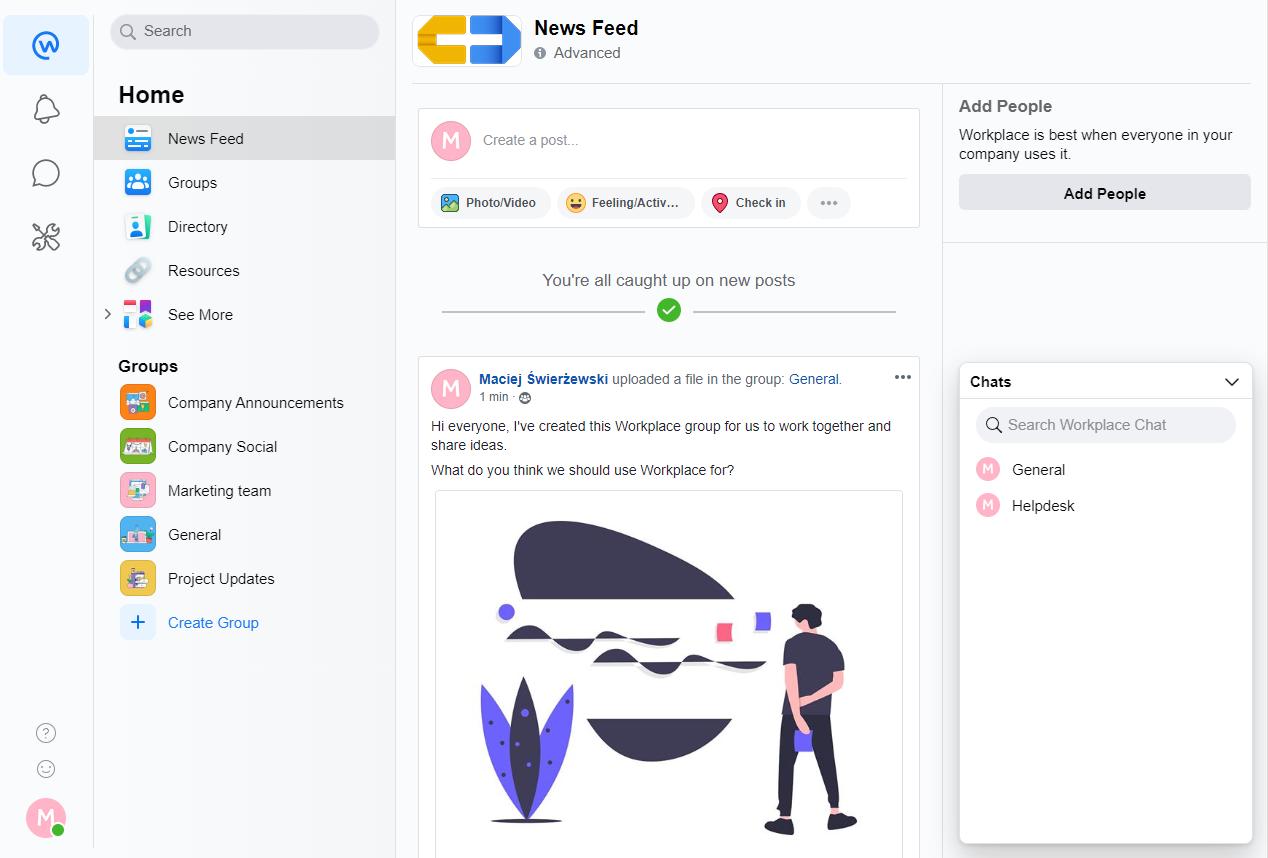 Interface Facebook Workplace