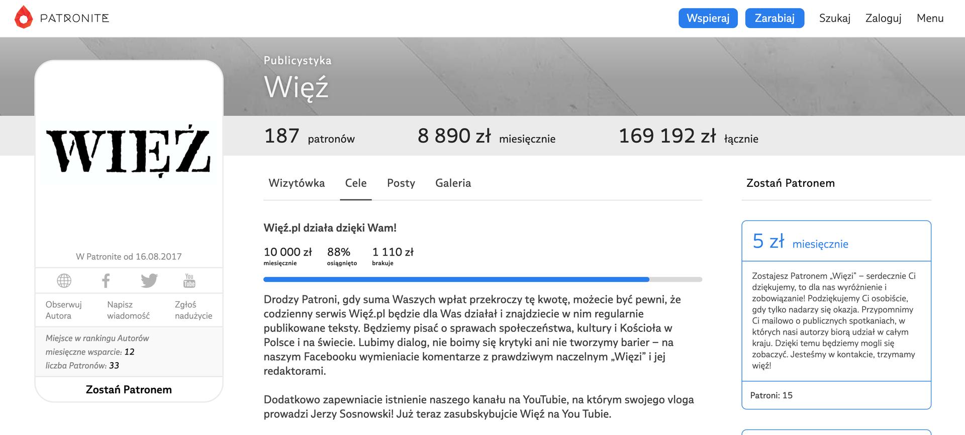 Konto Towarzystwa Więź w serwisie Patronite.pl