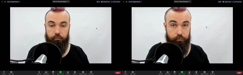 Po lewej patrzę uczestnikom szkolenia w oczy. Po prawej patrzę w obiektyw kamery