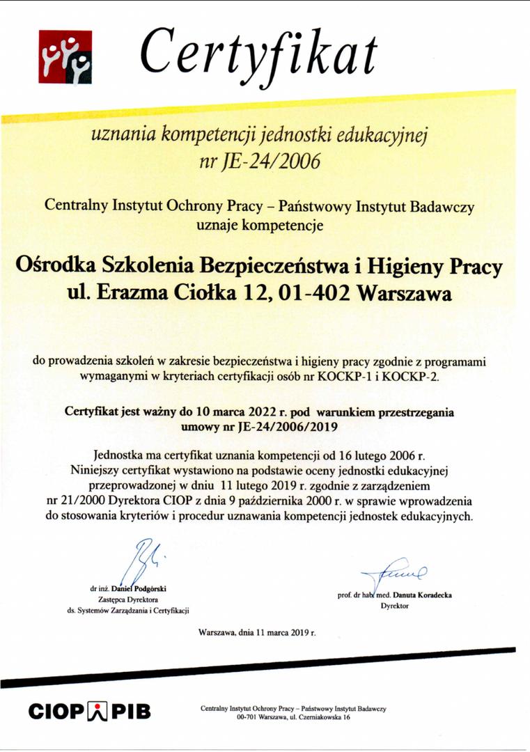 Certyfikat uznania kompetencji - CIOP - 2022
