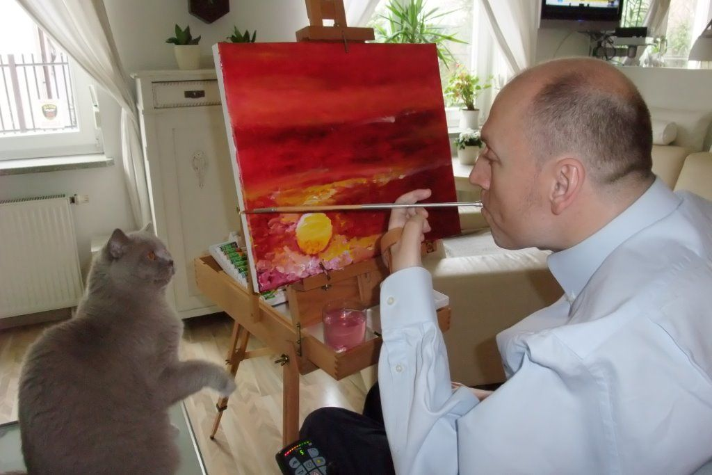 Piotr Pawłowski maluje