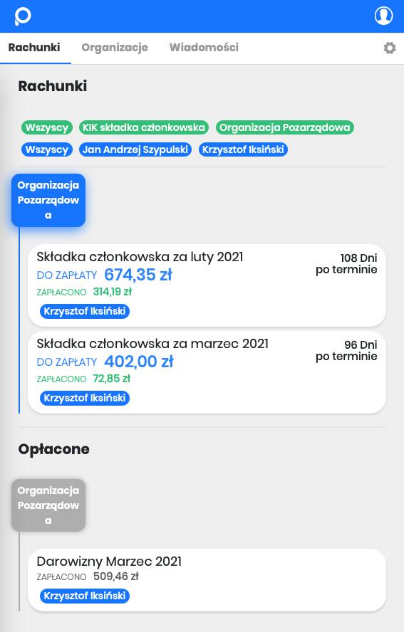 Dostęp dla członków przez Aplikackę i Internet