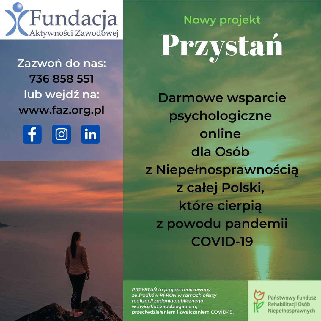 PRZYSTAŃ - wsparcie psychologiczne dla Osób z Niepoprawnością w związku ze skutkami pandemii COVID-19