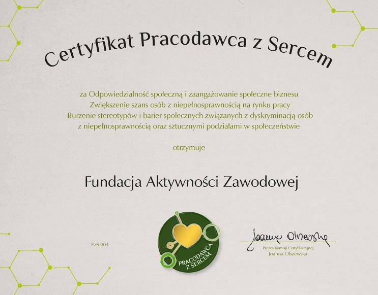 Certyfikat PRACODAWCA Z SERCEM dla Fundacji Aktywności Zawodowej