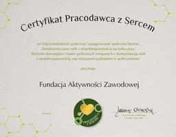 Miniatura Certyfikat PRACODAWCA Z SERCEM dla Fundacji Aktywności Zawodowej