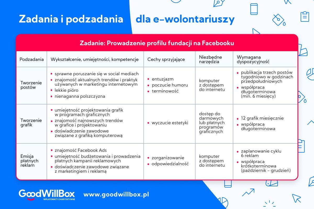 Przykładowa tabela z zadaniami i podzadaniami dla e-wolontariuszy