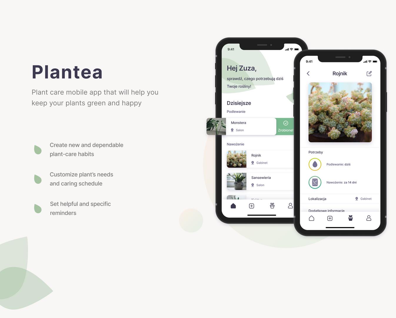 Projekt aplikacji mobilnej ułatwiającej opiekę nad roślinami.