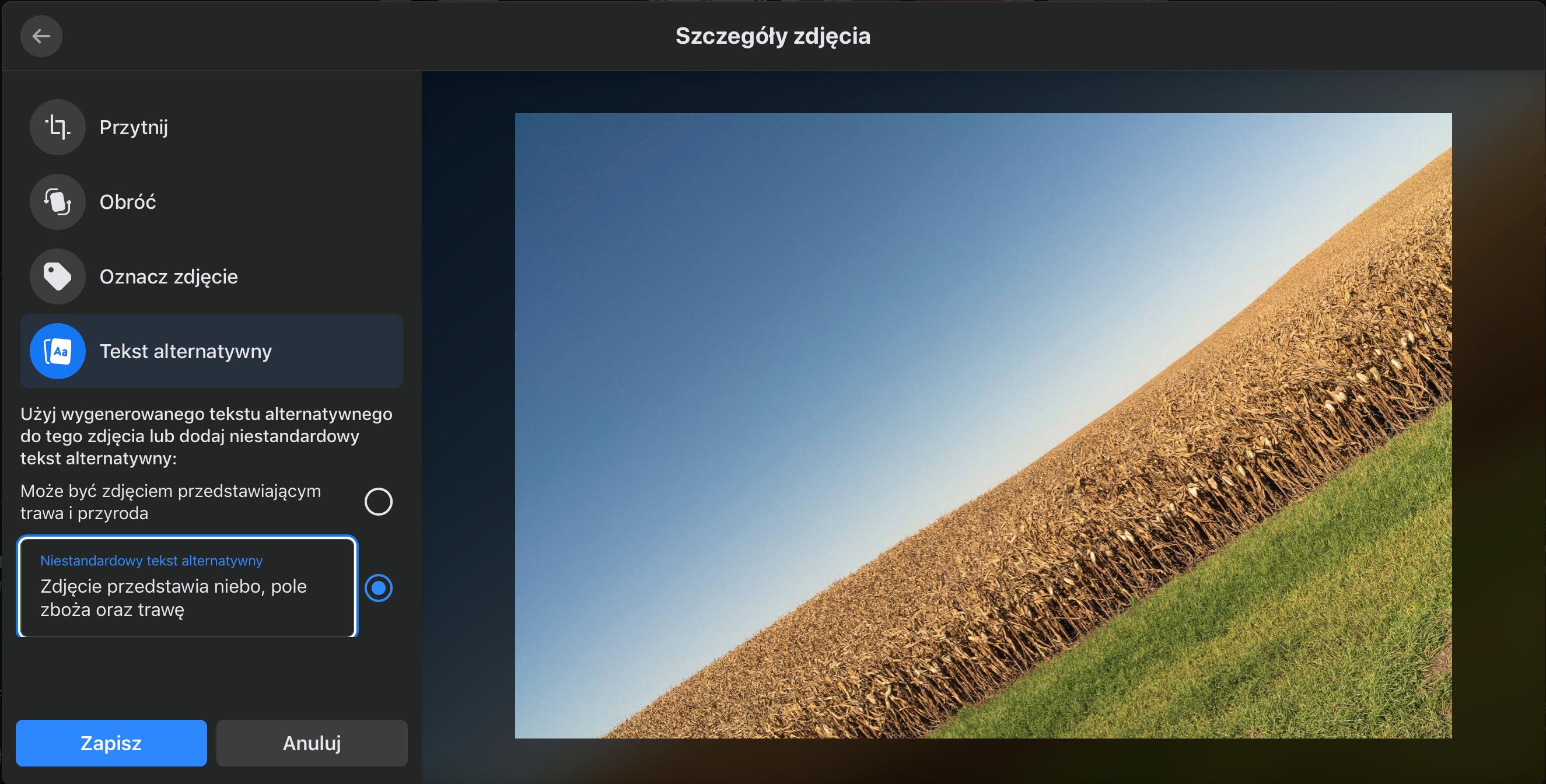 Frmagment strony służacej do edycji zdjęć i dodawania tekstów alternatywnych