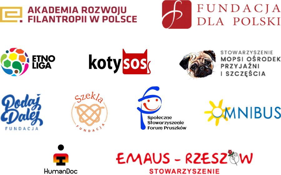 Loga wybranych organizacji zbierających jużdarowizny z Wpłacam